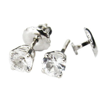White Sapphire Stud Earrings 3.75 mm Studs Gemstone 14K White Gold Earrings Bridesmaid Gift Wedding Jewelry Anniversary Gift