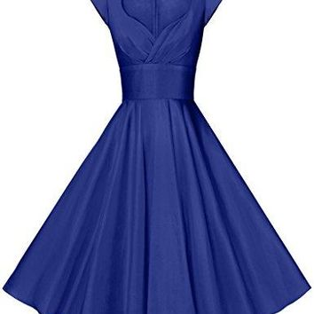GownTown Womens Dresses Party Dresses 1950s Vintage Dresses Swing Stretchy Dresses Royal Blue XSmall