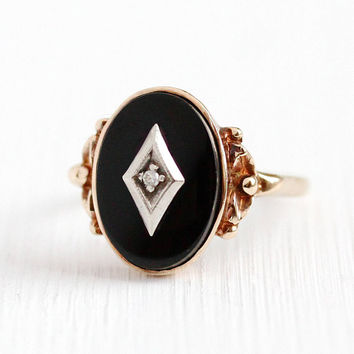 Vintage Onyx Ring - 10k Rose Gold Black Onyx Gem & Diamond - Size 7 1/2 Retro 1940s Oval Chalcedony Gemstone Statement Flower Fine Jewelry