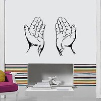 Vinyl Decal Wall Stickers  Praying Hands Christianity Symbol Church  Unique Gift (z1709)