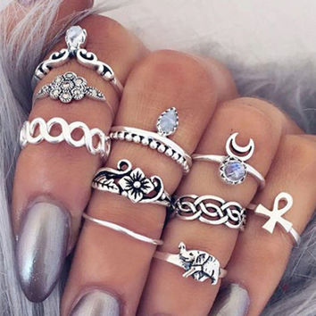 10Pcs Vintage Boho & Elephant Ring Set Gift -Random Necklace