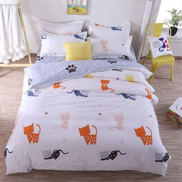 Home Textiles Cartoon Little Cat Duvet Cover plaid Bed Sheet Pillowcase Boys Girls adult Teen Bedding Sets King Queen Twin Size