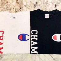 Champion New style letter print short sleeve blouse top black white