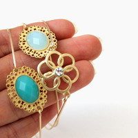 Turquoise and gold bangle 14kt gold filled - custom size
