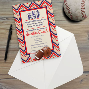 Instant Download - Sports MVP Baseball Basketball Football Birthday Boy Sport Softball Athletic Athlete Team Party Event Invitation Template