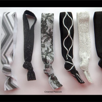 7 Elastic HAIR TIES, Black and White Specialty Prints, Lace, Glitter, Chevron, Pearl design - No Tug, Dent, Gifts for Teen