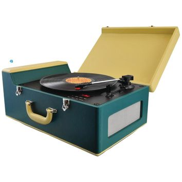 Pyle Home Bluetooth Vintage Suitcase-style Turntable Speaker System With Cd Player