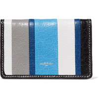 Balenciaga - Bazar striped glossed textured-leather wallet