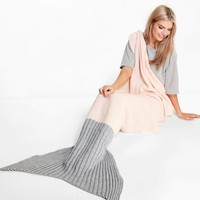 Two Tone Contrast Mermaid Tail Blanket | Boohoo