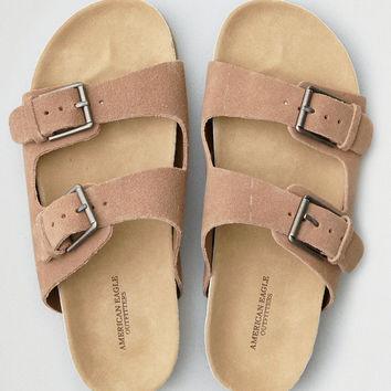 AEO Double Buckle Molded Footbed Sandal, Taupe