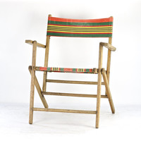 Vintage Striped Folding Deck Chair, Vintage Wood Beach Chair, Striped Canvas Folding Chair, Vintage Wood Beach Chair With Stripes