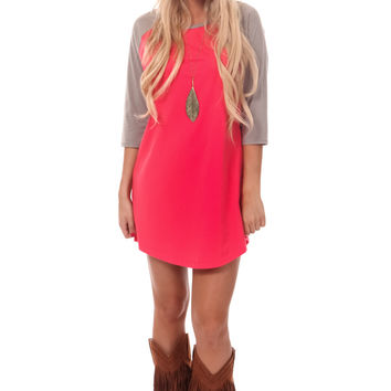 Coral Baseball Tunic Top with Grey Sleeves