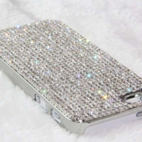Sparkly Silver Hard Rhinestone Case For iPhone 4 4S