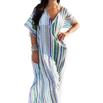 Geometric Print Chiffon Beach Kaftan Cover Up
