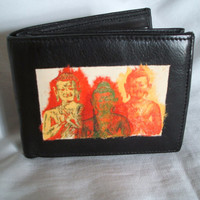 Upcycled leather wallet, black leather wallet, card organiser, cowhide wallet, decoupage wallet, leather billfold, orange buddha head