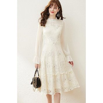 Lace Tiered Dress W/ Sequin