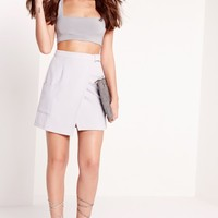 Missguided - Slinky Square Neck Crop Top Slate Grey