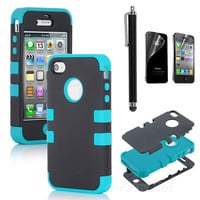 Stylus + For iPhone 4S 4 4G Hybrid High Impact Case Cover Black / Blue Silicone