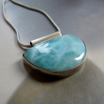 Larimar Sterling silver pendant, handmade metalwork necklace, natural jewelry