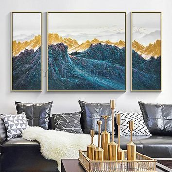 3 pieces Wall Art mountains Peaks Modern landscape birds Gold Art abstract Painting on canvas Blue Original Pictures cuadros abstractos