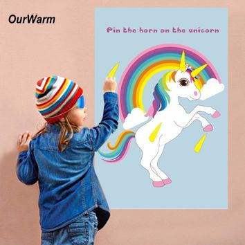 OurWarm Pin The Horn On The Unicorn Fun Kids  Birthday Party Favors Home Games Rainbow Unicorn Decoration Festive Party Supplies
