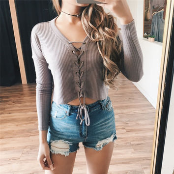 Winter V-neck Tops Sexy Slim Sweater [9476045380]