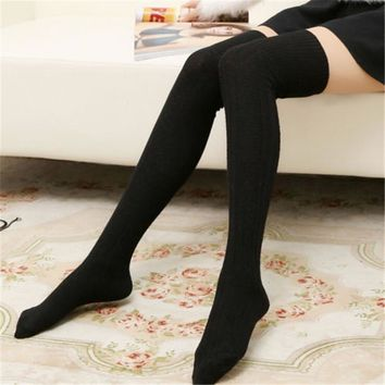 Fashion Women Girls Sexy Winter Warm Knitted Cotton Stocking Over Knee Long Thigh High Stretch Stockings Hosiery Tight Pantyhose