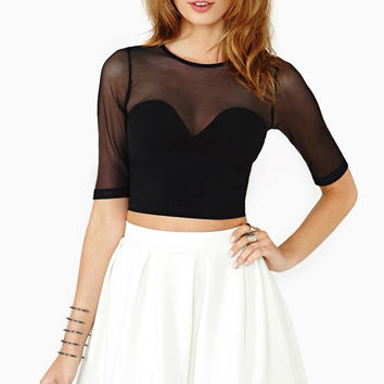 Black Mesh Panel Crop Top