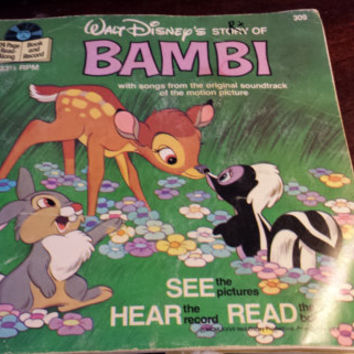 Pair Of Walt Disney Read A Long Books w/Records #309 #383  Fox and The Hound Bambi