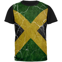 Distressed Jamaican Flag All Over Mens Black Back T Shirt