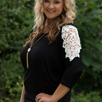 Curvy| Pop of Lace Dolman Top - Black