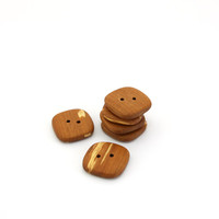 Square wooden buttons - Handmade applewood buttons - 0.8in (21mm) - Set of 6 natural buttons
