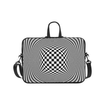 Personalized Laptop Shoulder Bag Optical Illusion Checkers Handbags 17 Inch
