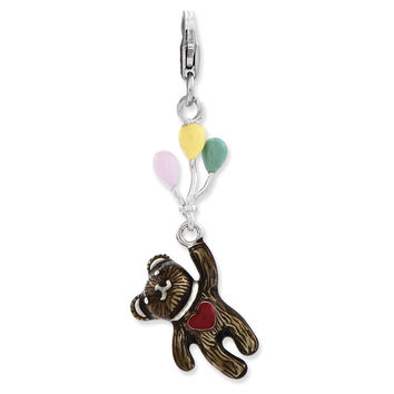 925 Sterling Silver 3D Floating Teddy Bear with Balloons Dangle Charm