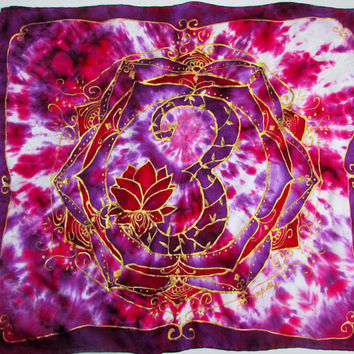 Altar cloth, card reader cloth, silk scarf, Sacred Ohm, metaphysical, mandala art, spiritual art, lotus art, ohm art, blue silk scarf