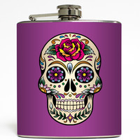 Day of the Dead Skull - Purple Flask