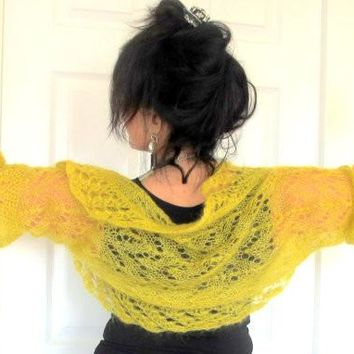 Mustard Yellow Mohair Sweater Shrug, yellow silk and kid mohair, hand knit luxury bolero cardigan