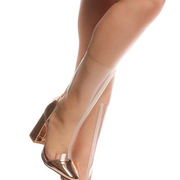 Rose Gold Vinyl Cap Toe Calf Length Booties @ Cicihot Heel Shoes online store sales:Stiletto Heel Shoes,High Heel Pumps,Womens High Heel Shoes,Prom Shoes,Summer Shoes,Spring Shoes,Spool Heel,Womens Dress Shoes
