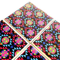 Aztec Ceramic Tile Coasters Tribal Geometrical Drink Set