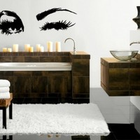 Beautiful Eyes Big Eye Lashes Wink Decor Wall Art Mural Vinyl Decal Sticker (M462) 7 in by 18 in