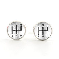 Silver Mens Cufflinks - Car Jewelry - Gear Stick Cufflinks - Gifts for Him - Gifts for Birthdays - Fathers Day - Accessories for Men