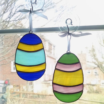 Stained Glass Easter Egg Suncatchers - Set of 2 - Pink - Yellow - Green -Blue - Easter Decoration - Easter Ornament - Window Ornament