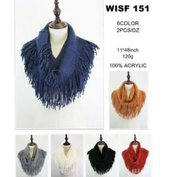 Pattern Knitted Fringe Infinity Scarf