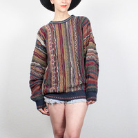 Vintage 90s Sweater Textured Striped Cosby Sweater 1990s Boyfriend Sweater Cozy Knit Jumper Coogi Sweater Style Pullover L Extra Large XL