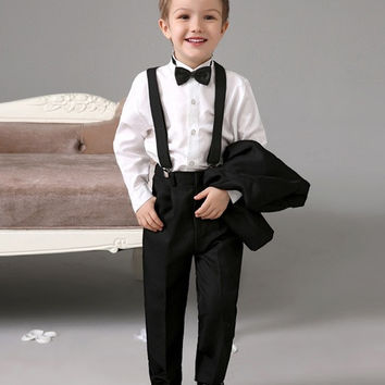 Black kids suits new Ring Bearer Suits cool Boys Tuxedo With Black Bow Tie kids formal dress wedding kids outfit = 1932631940
