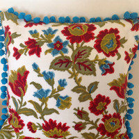 Retro Cushion Pillow with Blue Bobble Trim