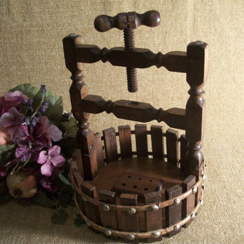 Vice Style Nut Cracker Wooden Wishing Well with Picket Fence and Hammer Head Screws Rustic Home Decor Nut Basket by Hayes Specialties