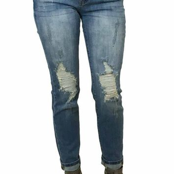 ICIKAB3 Kan Can Medium Wash Torn Knee Super Skinny Jeans