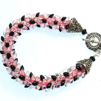 Pink Magatama Bracelet, Black Kumihimo, Beaded Bracelet, Bling Jewelry, Princess, Braided Cord, Medium Wrist, Silver Toggle Clasp