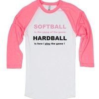 softball hardball pink on pink-White/Neon Heather Pink T-Shirt